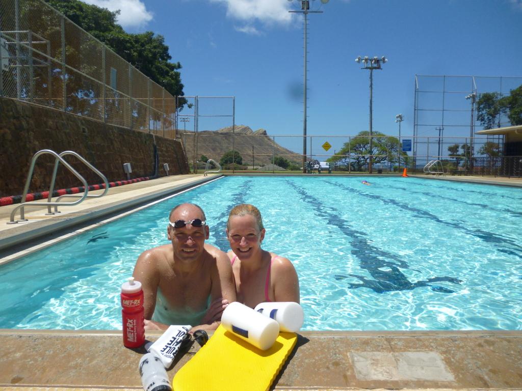 geliebtes Schwimmtraining vor Diamond Head, Honululu